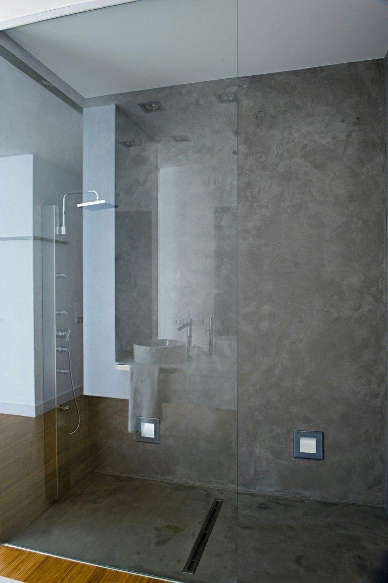 concreto paredes diseño cristales madera