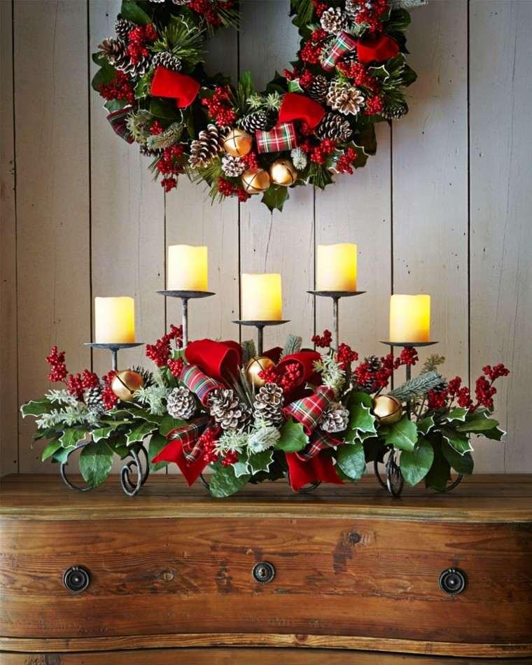 conjunto centro mesa corona navidad