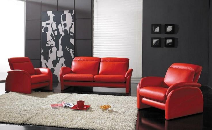 conjunto sillones modernos color rojo