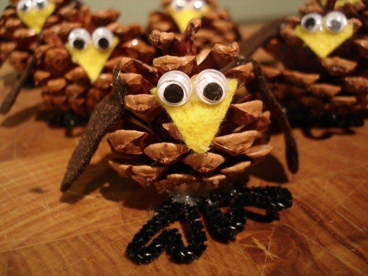 cono decorado otoñal aves ideas