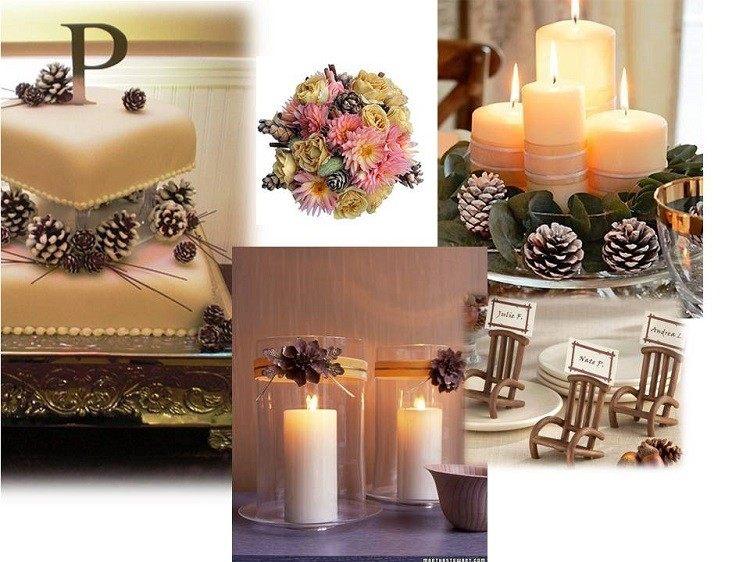 cono decorado otoñal diferente bodas romantico