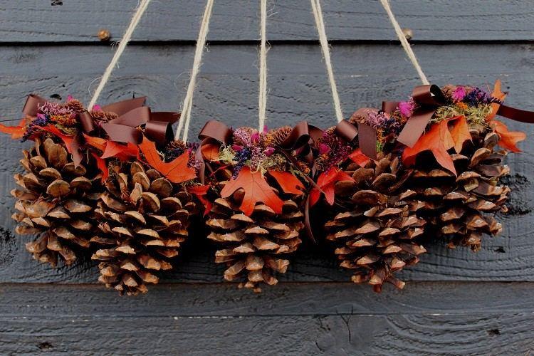 cono decorado otoñal diferente madera diy
