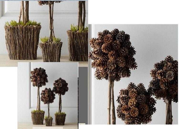 cono decorado otoñal diferente plantas