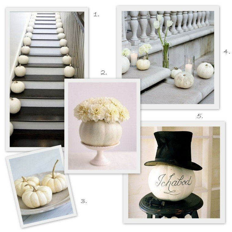 collage decorar calabaza blanca escaleras