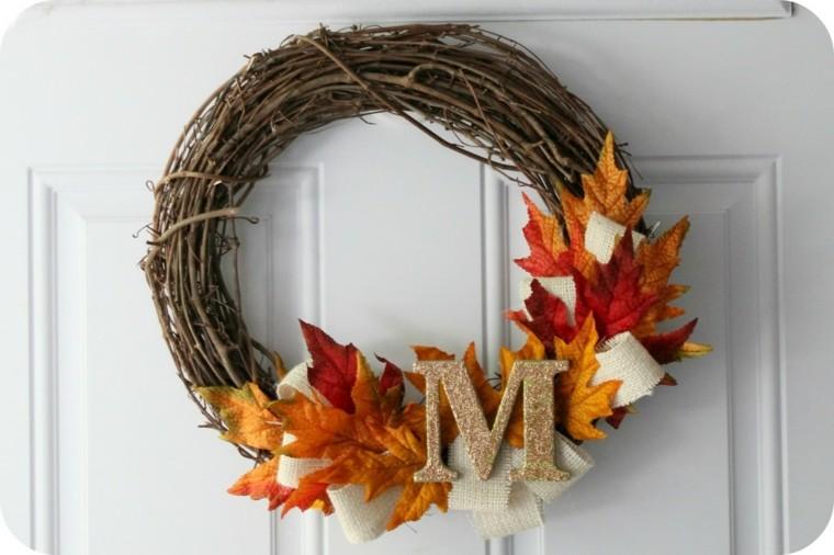 corona otoño ramitas letra eme