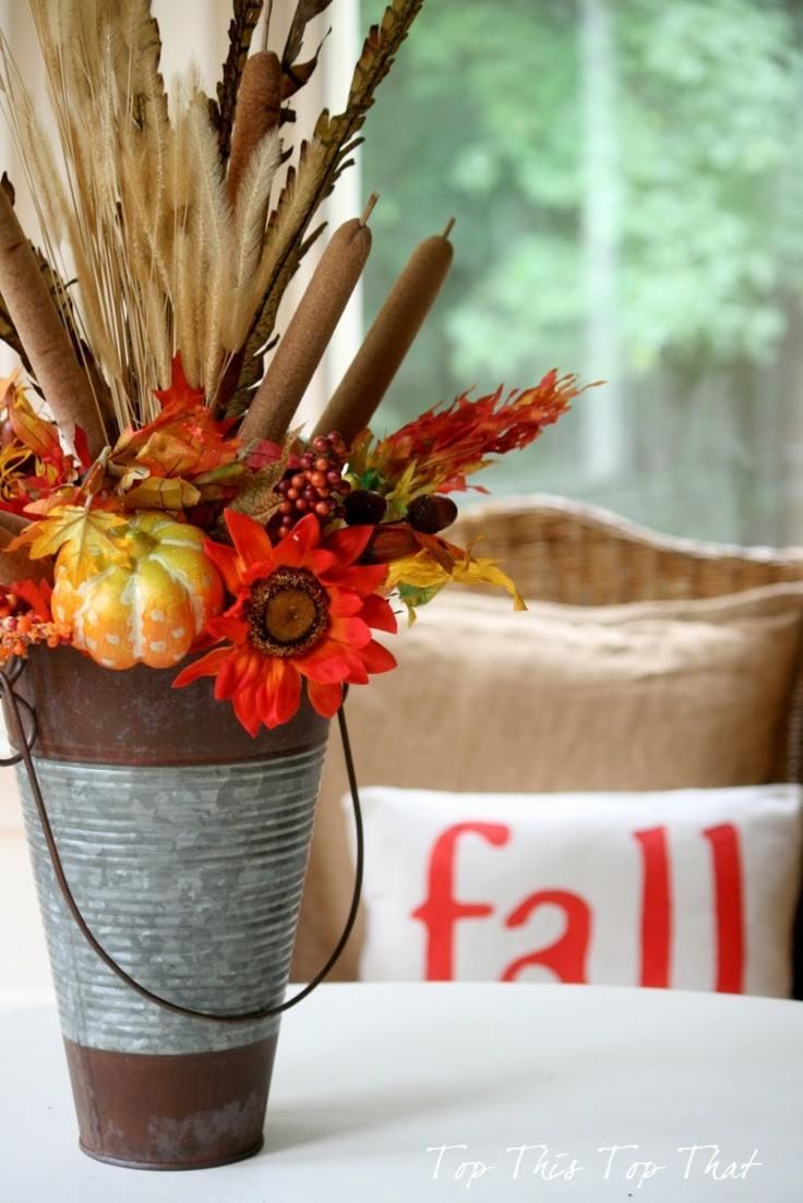 cubo lleno frutos otoño deco