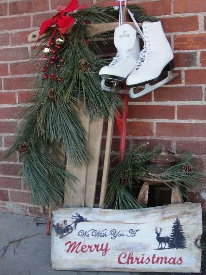 decoración adornos patines navidad