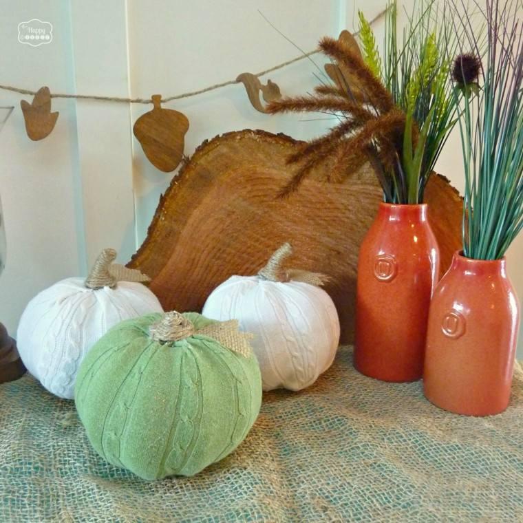 decorar calabazas tela verde