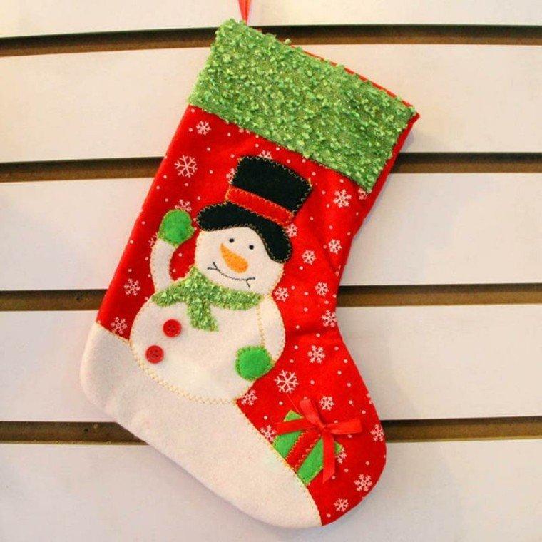 decorar calcetin muñeco nieve
