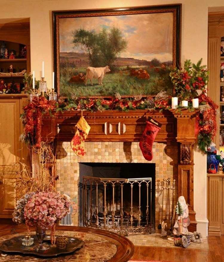 decorar chimenea adornos navideos