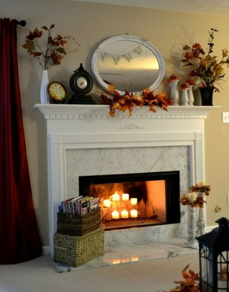 decorar chimenea hojas arboles