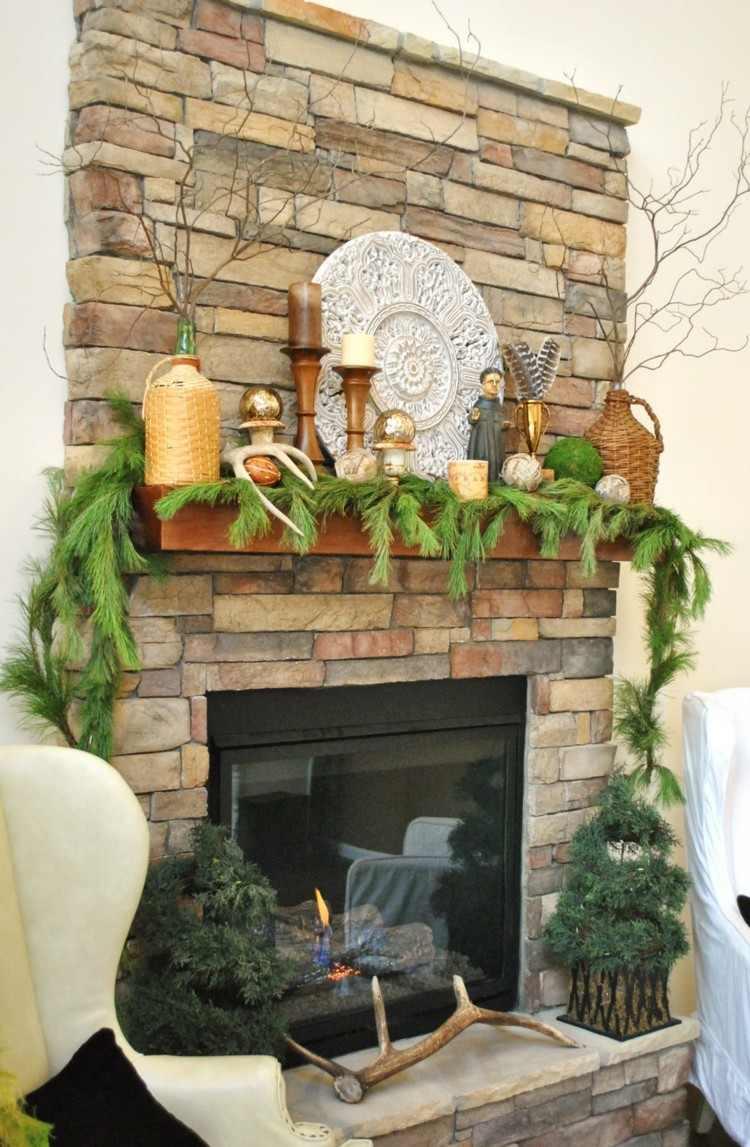 decoración chimenea pequeña moderna