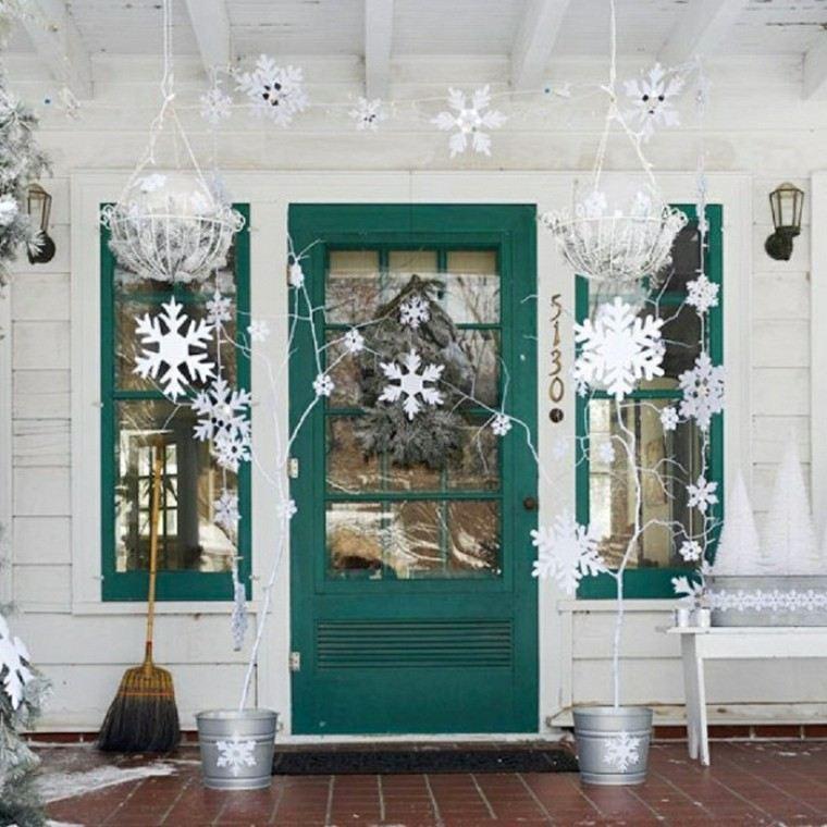 decoracion entrada navidad blanca