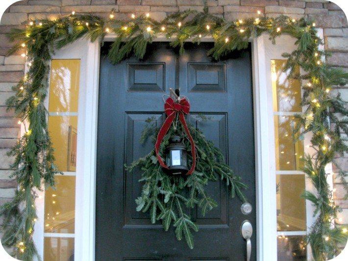 decorar entrada ramas pino
