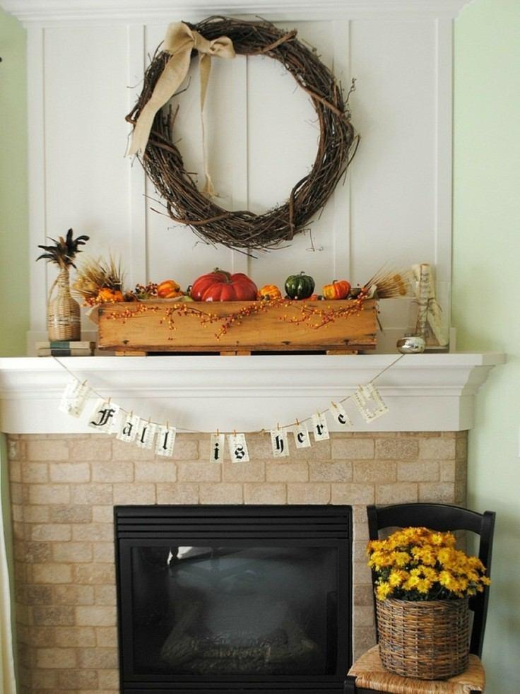 deco escandinava para chimenea otoño
