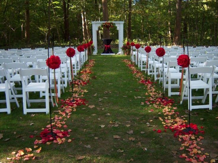 decoración  jardín boda otoño