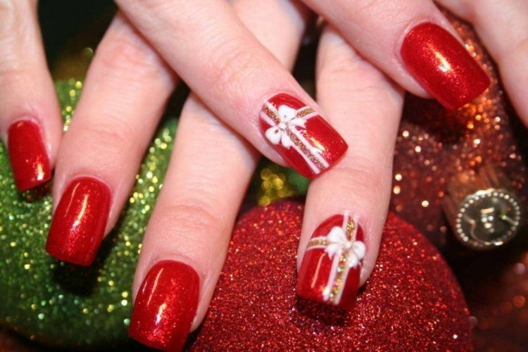 decoración manuicura roja navidad