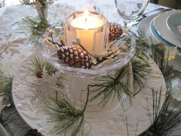 decorar mesa jardin navidad