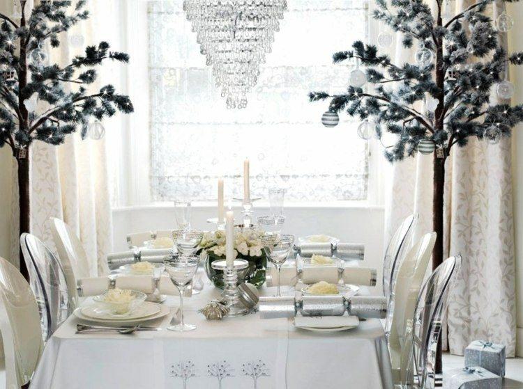 decoración mesa navidad blanca