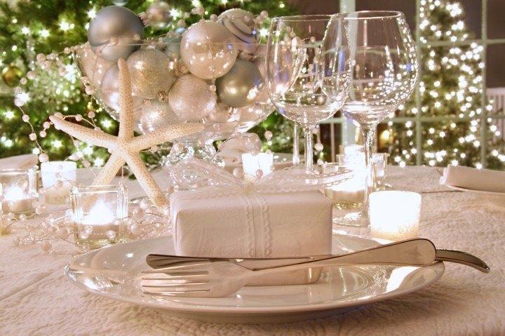decoración mesa navidades blancas