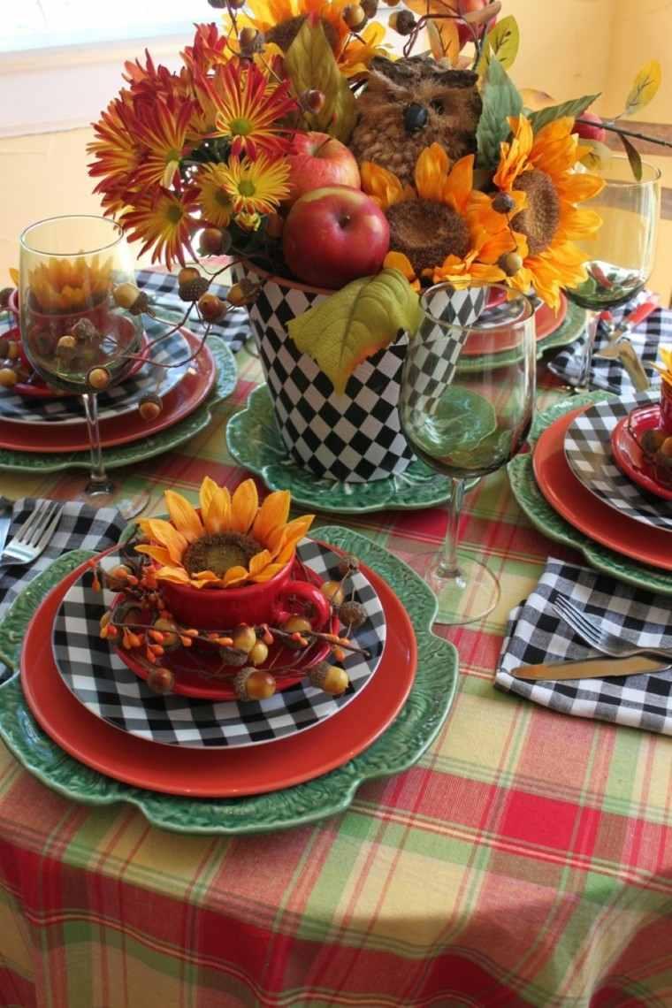 decoración mesa otoño girasoles