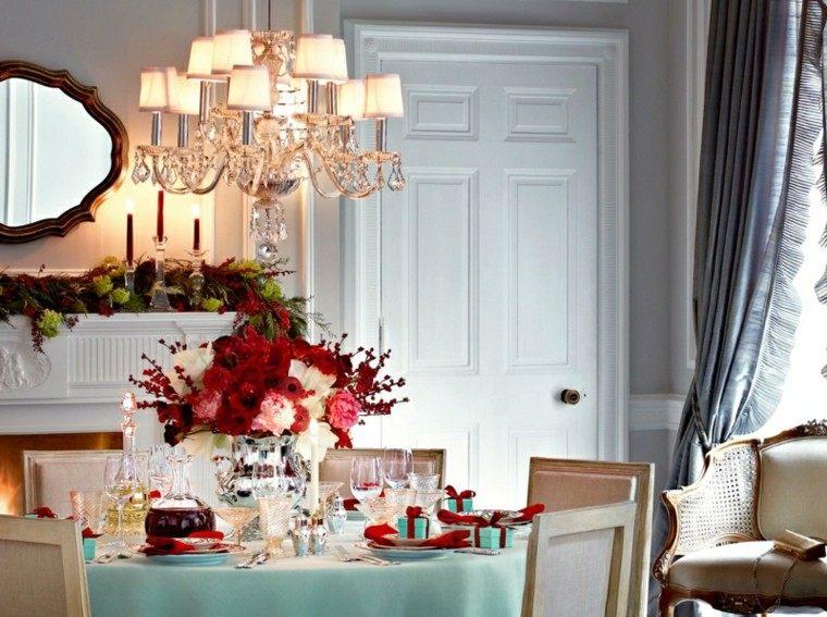 decoración mesa ramo rojo