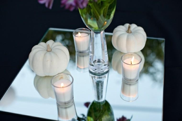 decorar mesa velas blancas