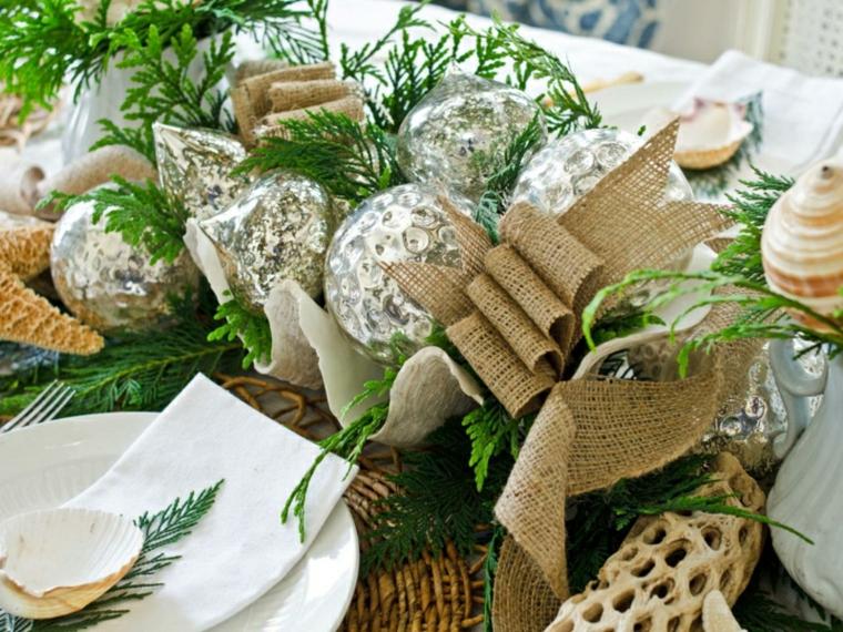 decoracion mesa bolas navidad
