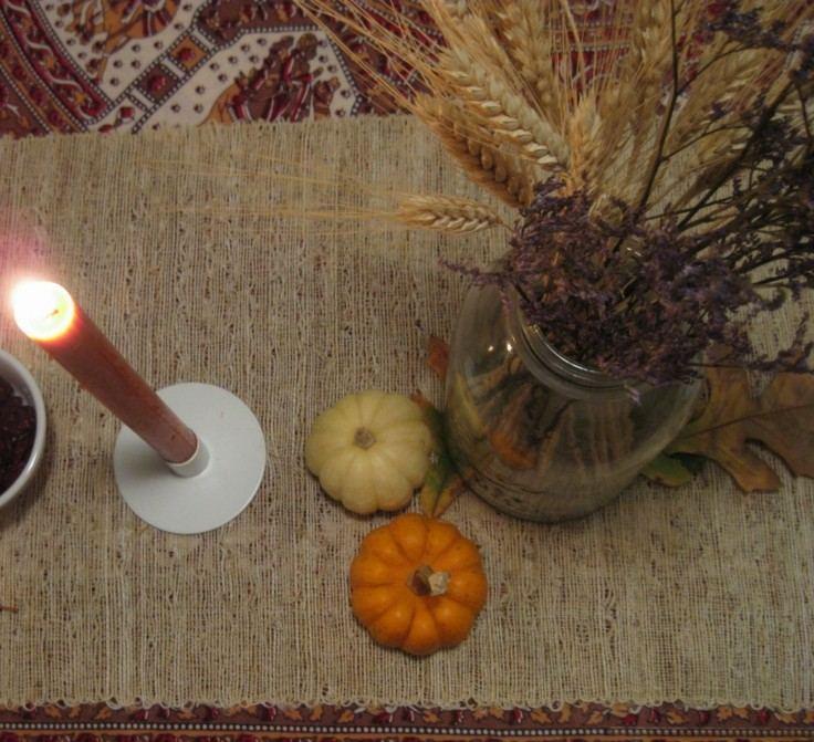 decoración natural calabazas velas
