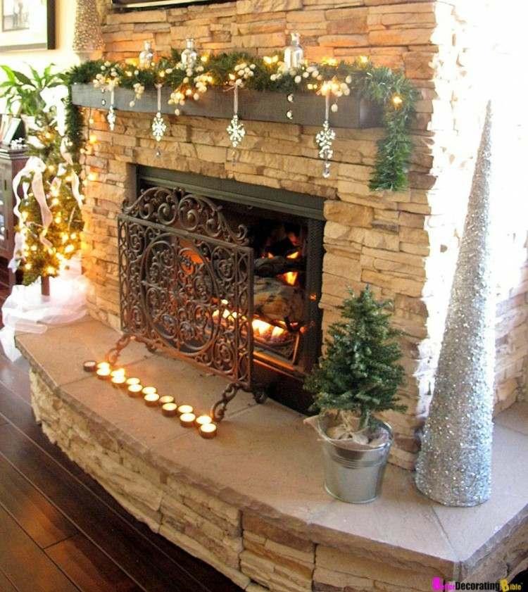 decoracion navidad chimenea encendida