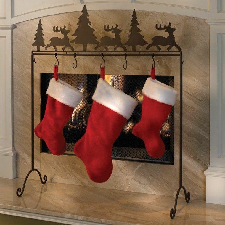 deco navidad chimenea salon medias