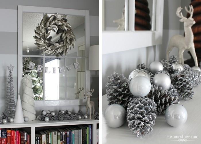 decoración navidad piñas plata