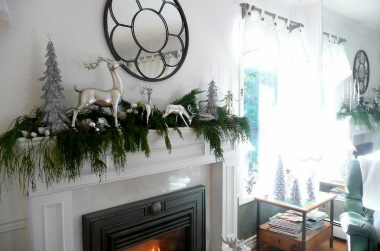 decoracion navidad renos plata