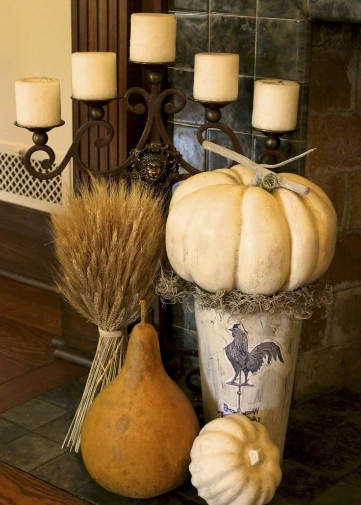 decoración otoño calabazas grandes