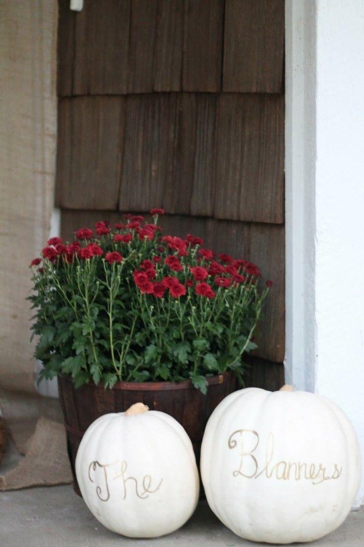 decorar otoño calabazas blancas