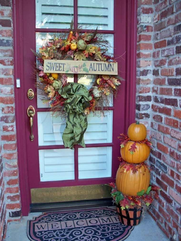 bonita decoración puerta otoño