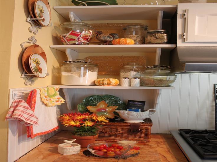 cocina estantes adornos otoño