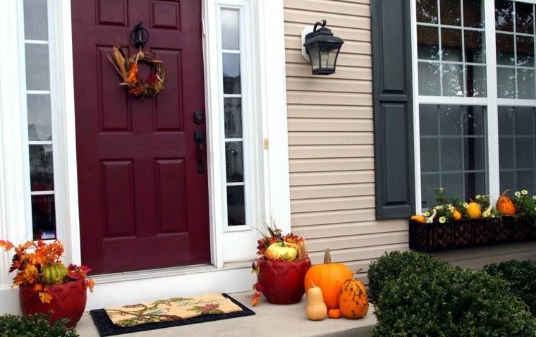 decoración otoño puerta roja