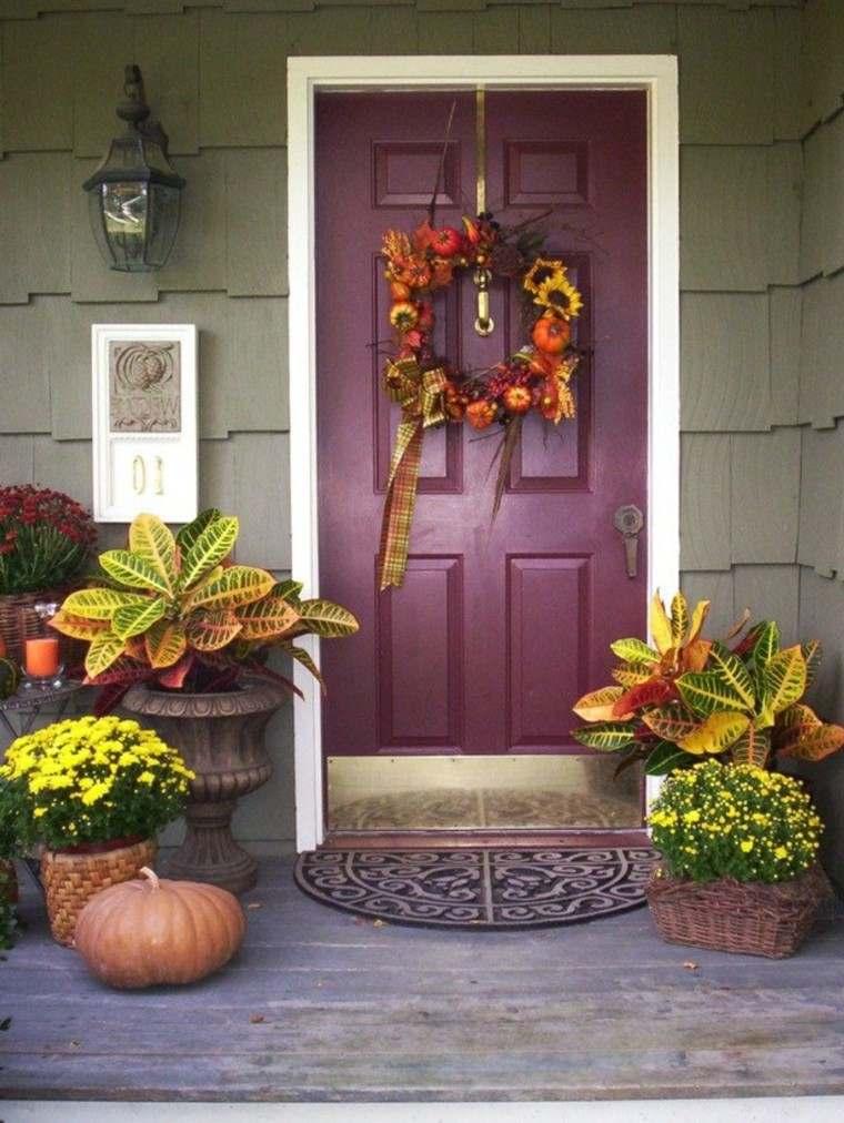 decoración de otoño puerta flores