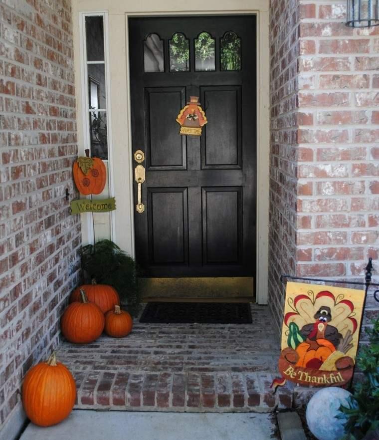 Puertas de entrada decoradas con colores de oto o - Decoracion de calabazas ...