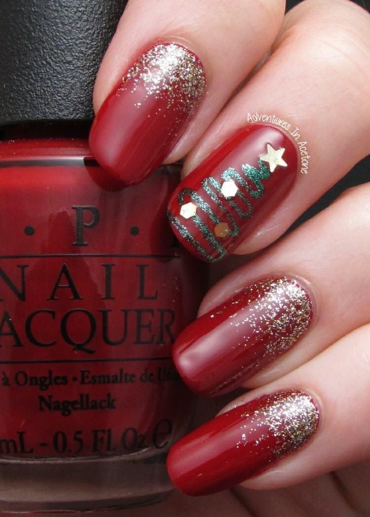 decoración uñas color rojo