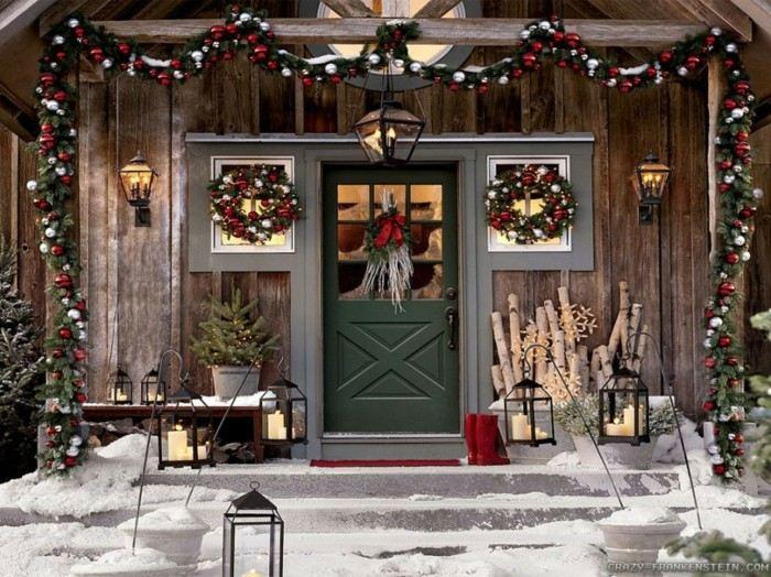 decoración entrada casa navidad