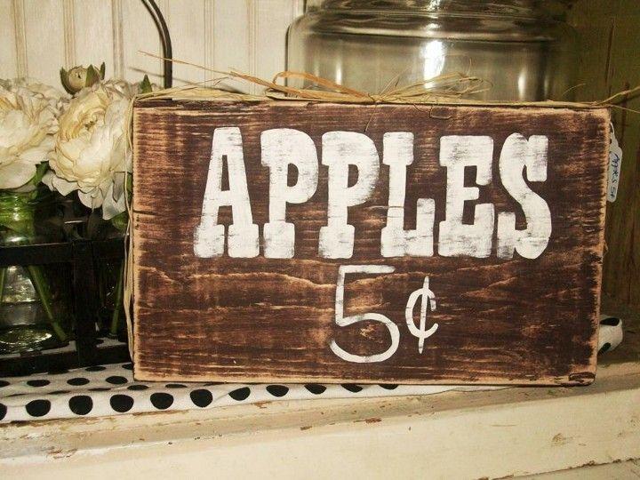 decoración manzanas cartel retro