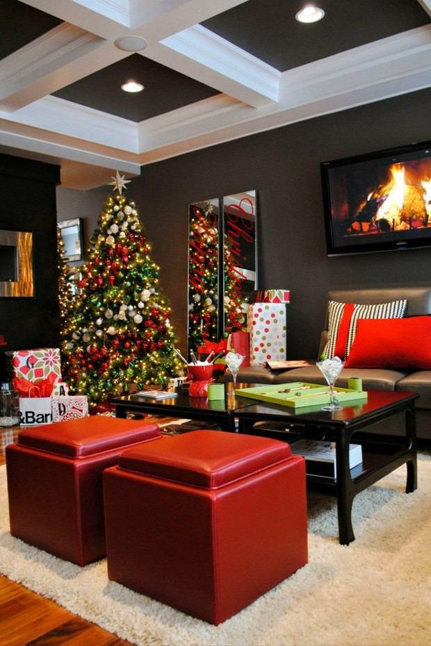 decoración navidad taburetes piel