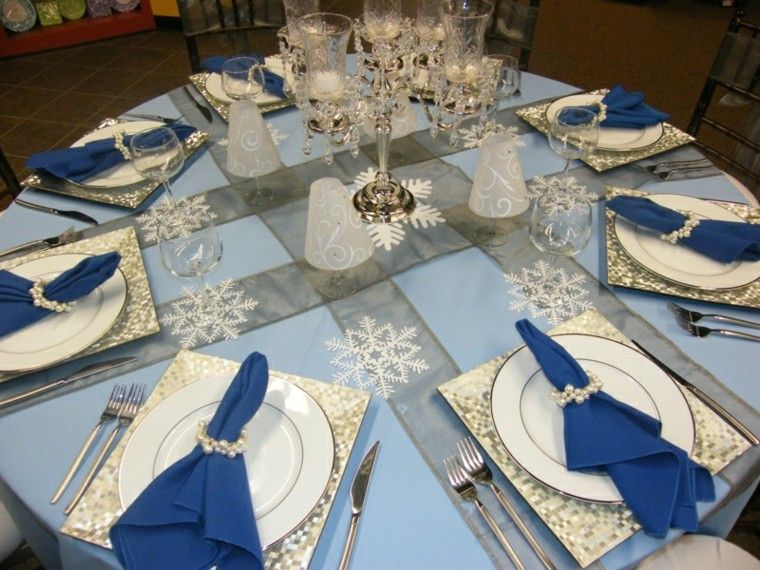 decorar mesa servilletas azules