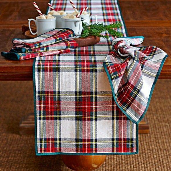 decoración navidad manteleria escocesa