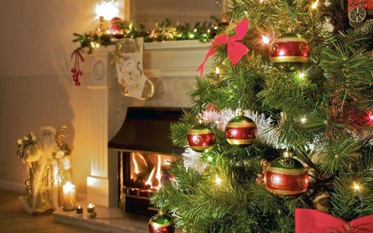 decoracion chimenea navidad bolas arbol preciosas ideas