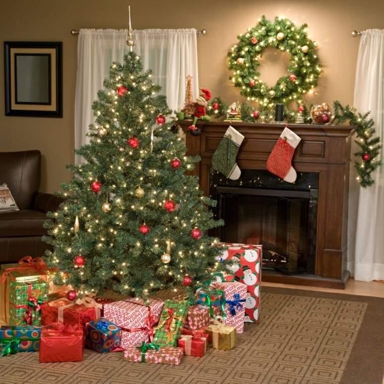decoracion chimenea navidad guirnalda luces arbol navidad ideas