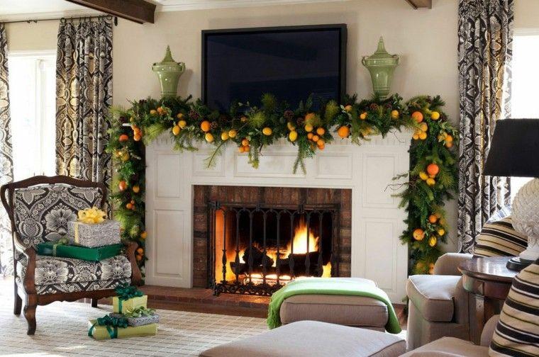 decoracion chimenea navidad naranjas mandarinas guirnalda ideas
