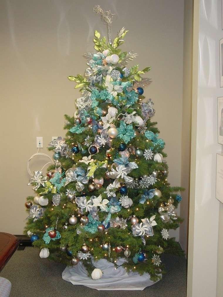 decoracion de navidad colores vibrantes decorar casa azul blanco ideas